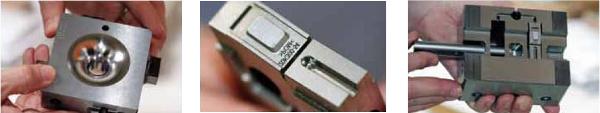 Precíziós szerszámgyártás Widnauban. Jellemző alkatrészspektrum, amit a NoventaToolingnál gyártanak. Általában 5 μm tűrést kell betartani.