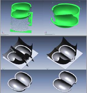 Pelton turbina lapát felületek illesztése