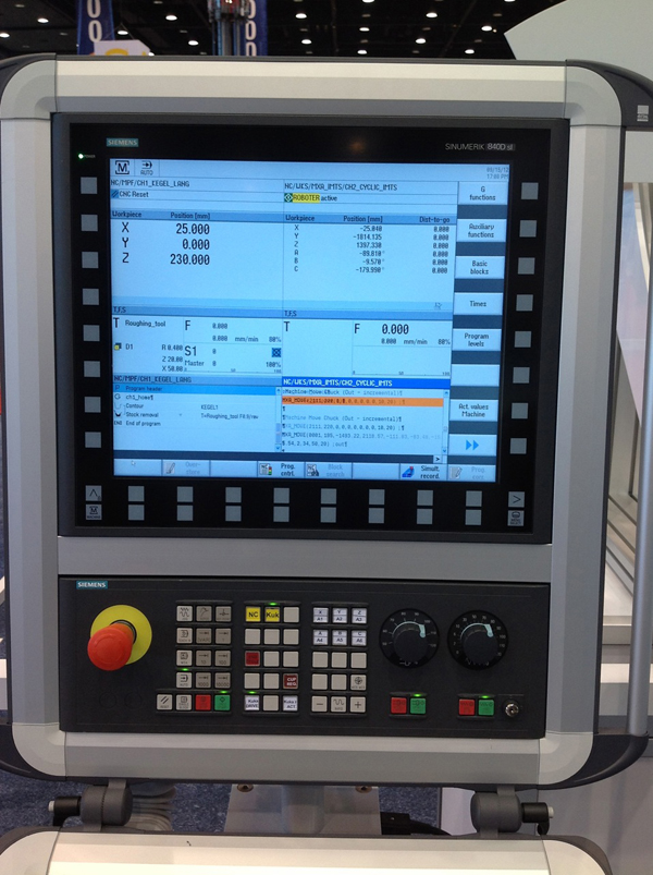A kétcsatornás Siemens CNC vezérlő képernyője
