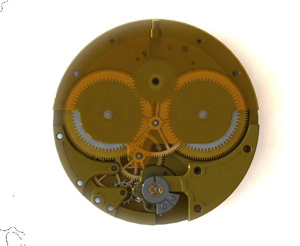 SolidWorks-ben modellezett óra összeállítás