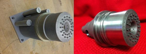 Bal: rakéta injektor közvetlenül a 3D nyomtatóból való eltávolítás után; Jobb: injektor csiszolás és ellenőrzés után (forrás: NASA)
