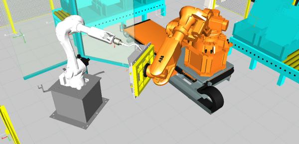 Tecnomatix - Különböző típusú robotok együttműködése