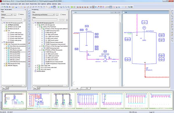 Üzemi áttekintés (P&ID) és üzemi struktúra (böngésző) az átlátható és integrált előzetes tervezés érdekében.