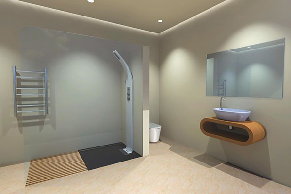 Látványkép egy víz-újrahasznosítót használó zuhanyról