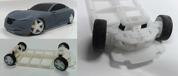 Az utolsó fázisban, több alkatrészből nyomtatott modell