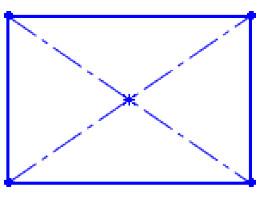 Négyszög rajzolása sarokpontból kiinduló szerkesztési vonallal