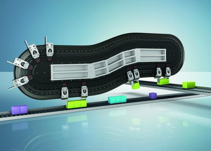 Az XTS lineáris szállítórendszer család 22,5°-os lineáris motorokkal egészül ki. Ezekkel tovább bővülnek a felhasználási lehetőségek: például a lépcsős pályavezetékek alkalmasak a termékek kiválogatására.