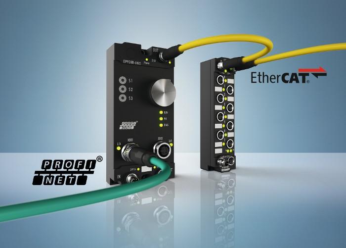 Az EP9300 EtherCAT Box segítségével a PROFINET-felhasználók az EtherCAT I/O-rendszer olyan előnyeit is élvezni tudják, mint a rugalmas topológia, a sokféle jel feldolgozása, valamint a rövid I/O frissítési idők.