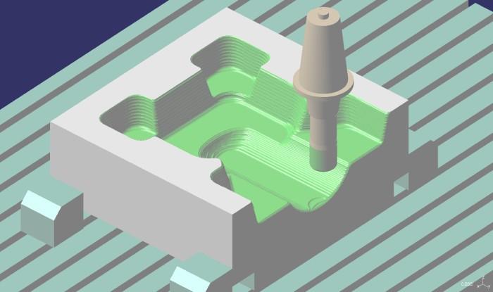 2.ábra: Nagyolás közbenső területek megmunkálásával (ap = 3 mm, upward step = 1 mm).