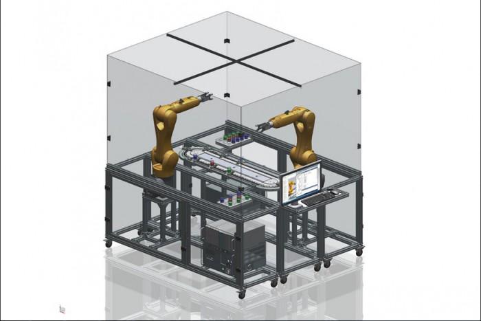 A robotos cella egyik kialakítási változatának díjnyertes 3D-s CAD modellje (Forrás: Benei Zoltán)