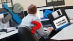 Businessman works on computer