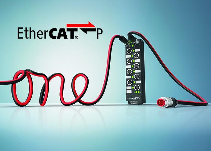 A terepi szintű egykábeles megoldás – az EtherCAT P egyetlen kábelben integrálja az EtherCAT-kommunikációt, valamint a rendszer- és a perifériák áramellátását.