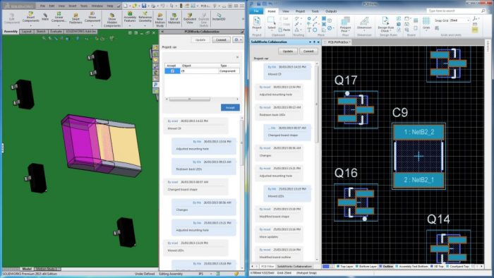 2. kép A SOLIDWORKS PCB integrálja az MCAD és ECAD adatokat