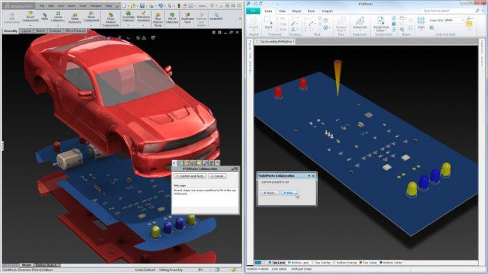 3. kép A SOLIDWORKS PCB-vel 3D modellben láthatók az elektromos tervek