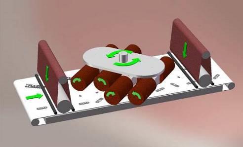 Moduláris felépítés, nagyfokú hatékonyság: a forgókefés csiszológépek opcionálisan felszerelhetők további elő- és/vagy utó-munkaállomással. Középen nyolc, balra és jobbra forgó, illetve ezekkel egyidejűleg egy, a központi tengely mentén forgó csiszolóegység munkálja meg a munkadarabokat, minden irányból.
