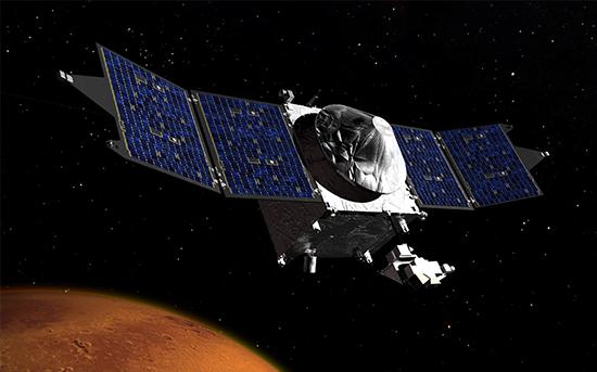 A NASA MAVEN nevű műholdjának meghajtó rendszere VACCO alkatrészeket is használ. A kép a NASA tulajdona.