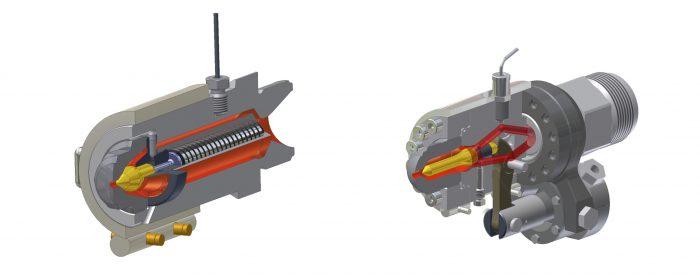 3. ábra: Rugóval (bal) és pneumatikus munkahengerrel (jobb) záródó fúvóka