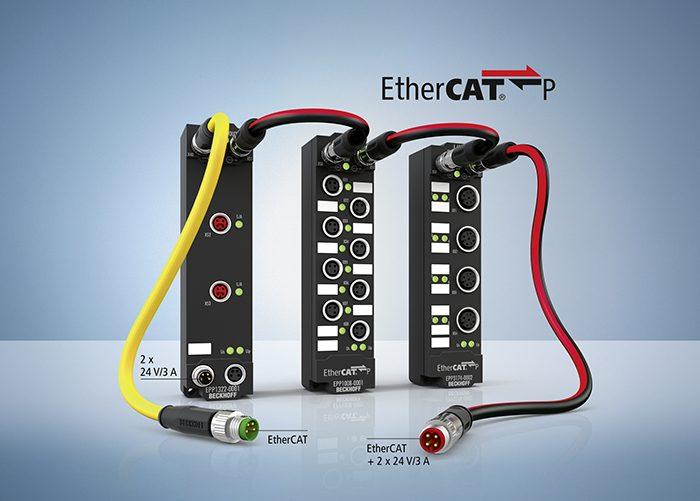 Három példa az IP 67 védettségű EtherCAT P be-/kimeneti termékek széles választékára: EtherCAT elágazás, 8 csatornás digitális bemeneti doboz és 4 csatornás, ±10 V /0…20 mA-es analóg bemeneti doboz.