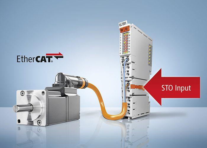 Az új, EL72x1-9014 típusú, biztonsági nyomatékkikapcsolás (STO) funkcióval rendelkező szervoterminálok rendkívül kis méretű, rendszerbe épített hajtástechnikát képviselnek.