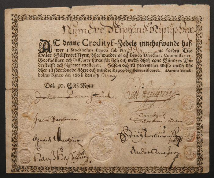 2. ábra: A Stockholm Banco által kiállított legelső európai papírpénz