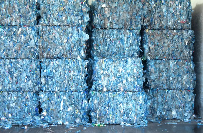 Plastic ready to be recycled in the cube pile ** Note: Soft Focus at 100%, best at smaller sizes