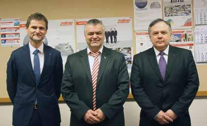 (balról jobbra) Reinhold Groß – TRUMPF Werkzeugmaschinen GmbH + Co. KG ügyvezetője Ógl Mihály – ZOLLNER Kft. Mechanika Üzletágának vezetője. Major Tamás – TRUMPF Hungary Kft. ügyvezetője