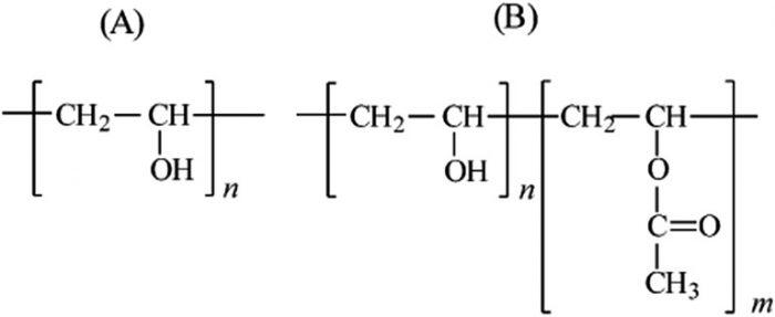 ábra Teljesen (A) valamint részlegesen hidrolizált poli(vinil-acetát) (B) szerkezeti képlete