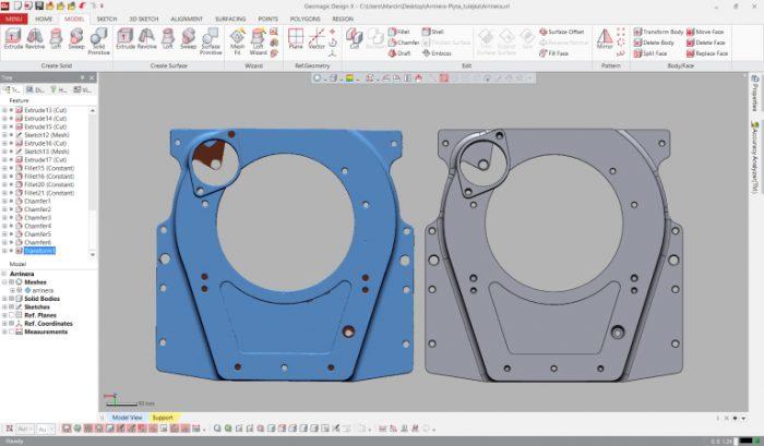 4.2. ábra: Háromszögháló és az az alapján előállított CAD modell