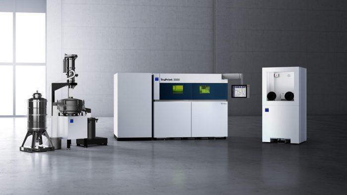 A TruPrint 3000 ipari szintű periféria- és porkezelési technológiával rendelkezik.