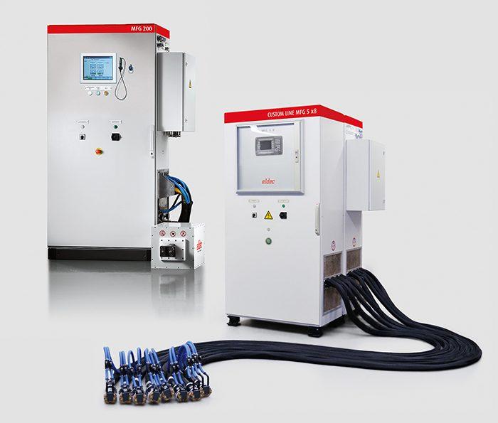 Az eldec CUSTOM LINE generátorok kívánságra 2-8 kimenettel szállíthatók, teljesítményük pedig egymástól függetlenül vagy egyidejűleg szabályozható.